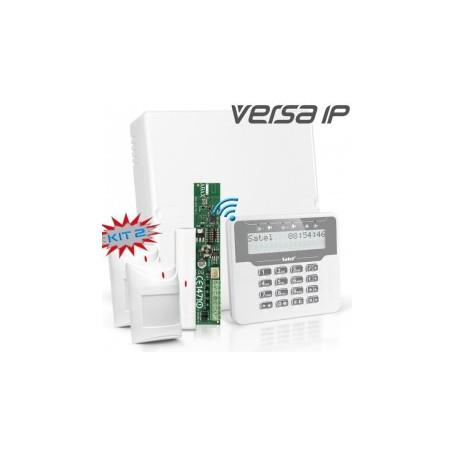 VERSA IP RF pakket met wit draadloos LCD, RF module, draadloos magneetcontact en 2x detector