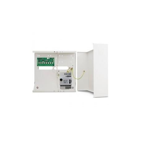 Satel INT-O uitgangen uitbreidingsmodule in metalenkast met APS412 voeding