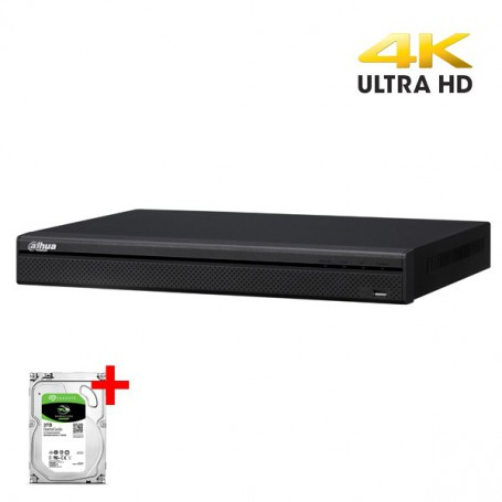 Dahua NVR4216-16P-4KS2 incl 2TB HDD, realtime 16 IP (4K) camera's